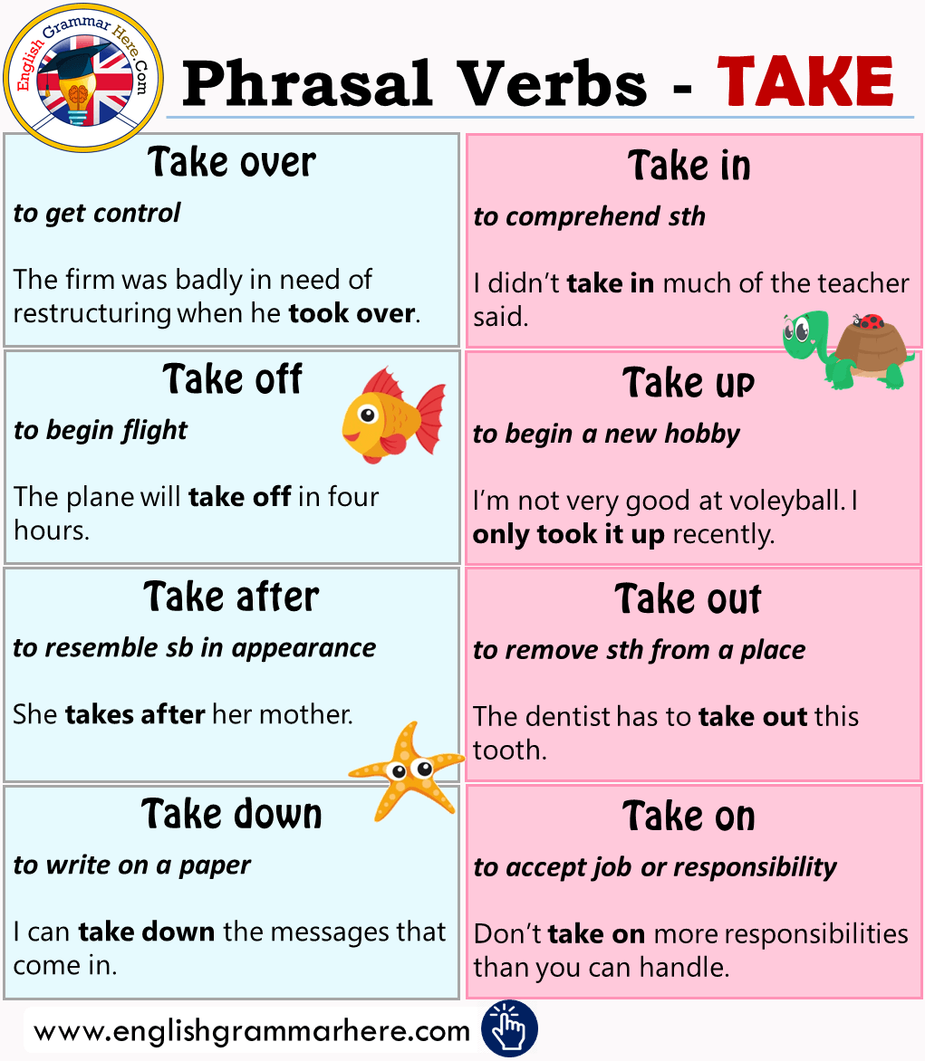 11 English Phrasal Verbs With Take, Meaning, Example