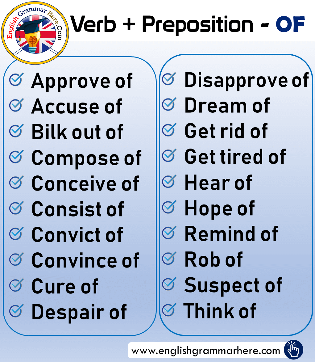 Verb + Preposition OF List and Example Sentences