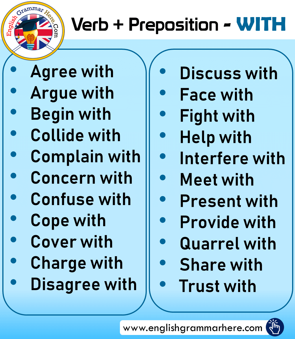 Verb + Preposition; WITH and Examples