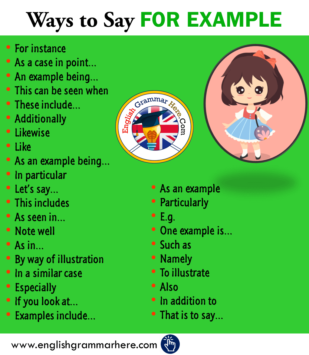 30 Ways to Say FOR EXAMPLE in English