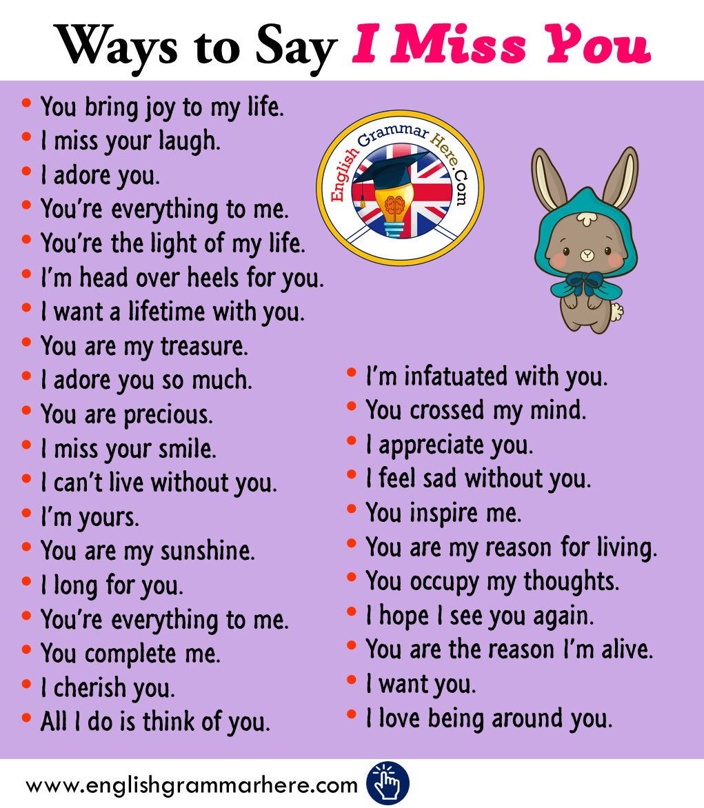 Ways to Say I Miss You in English