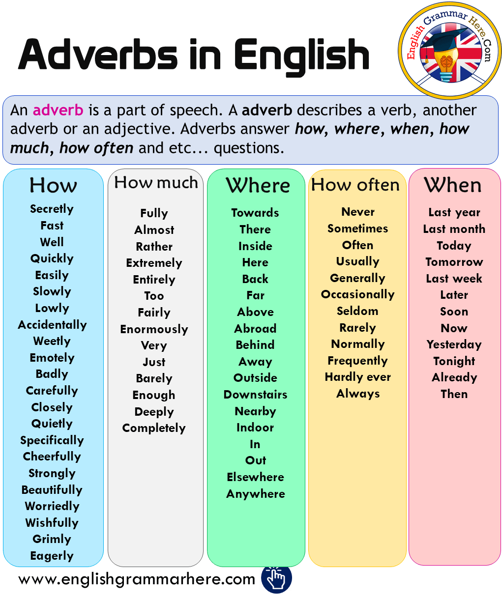 Adverbs in English, How, How Much, Where, How Often, When