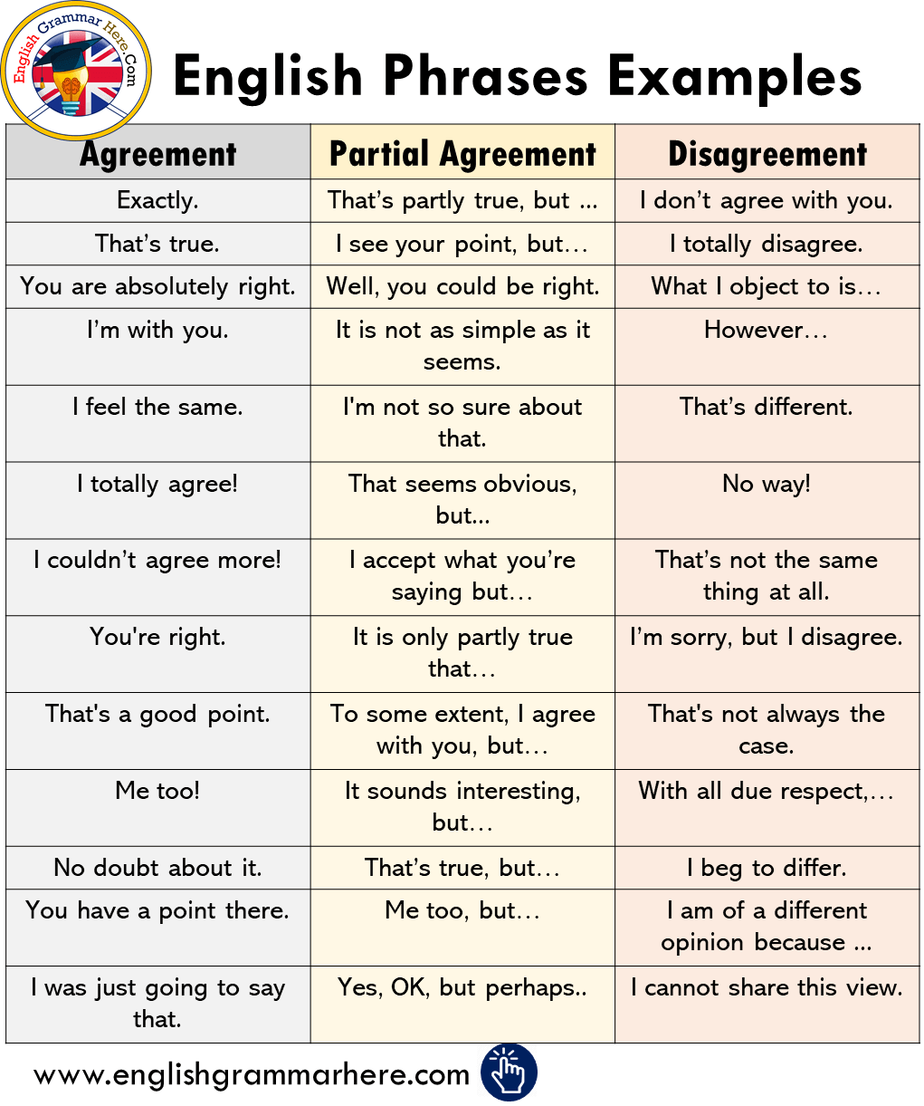 Agreement, Disagreement and Partial Agreement Phrases Examples