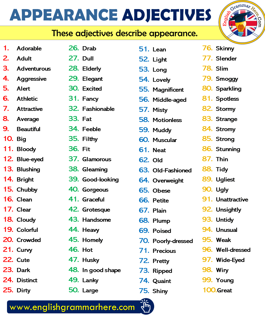 Appearance Adjectives List in English