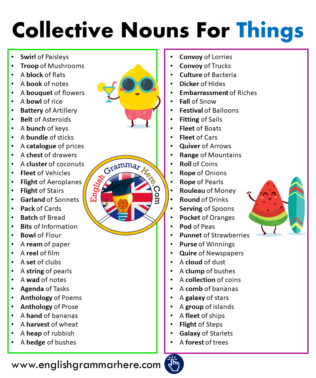 Collective Nouns For Things in English