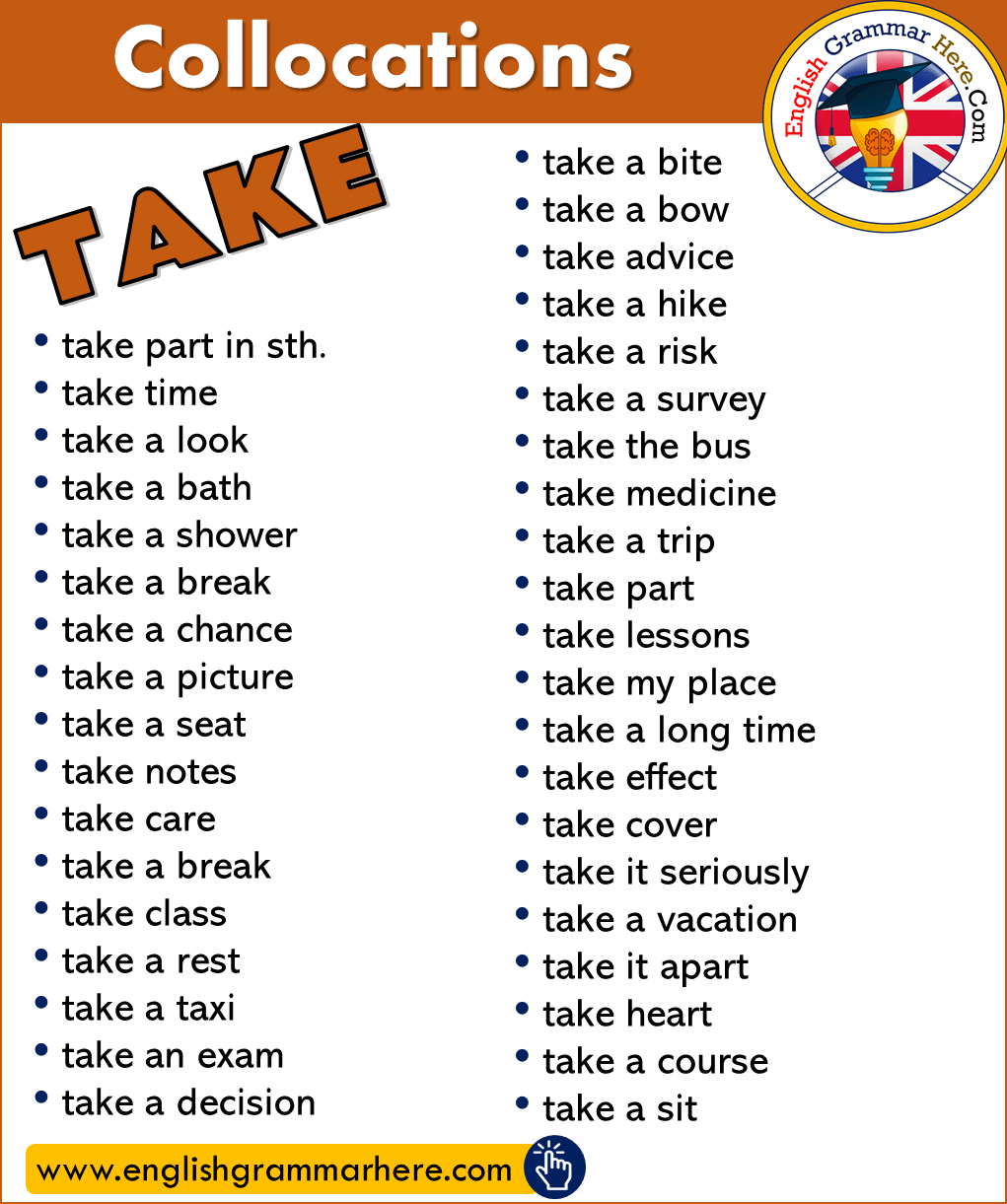 Collocations with TAKE in English