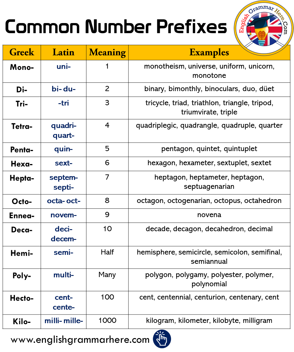 English Common Number Prefixes, Meanings and Examples