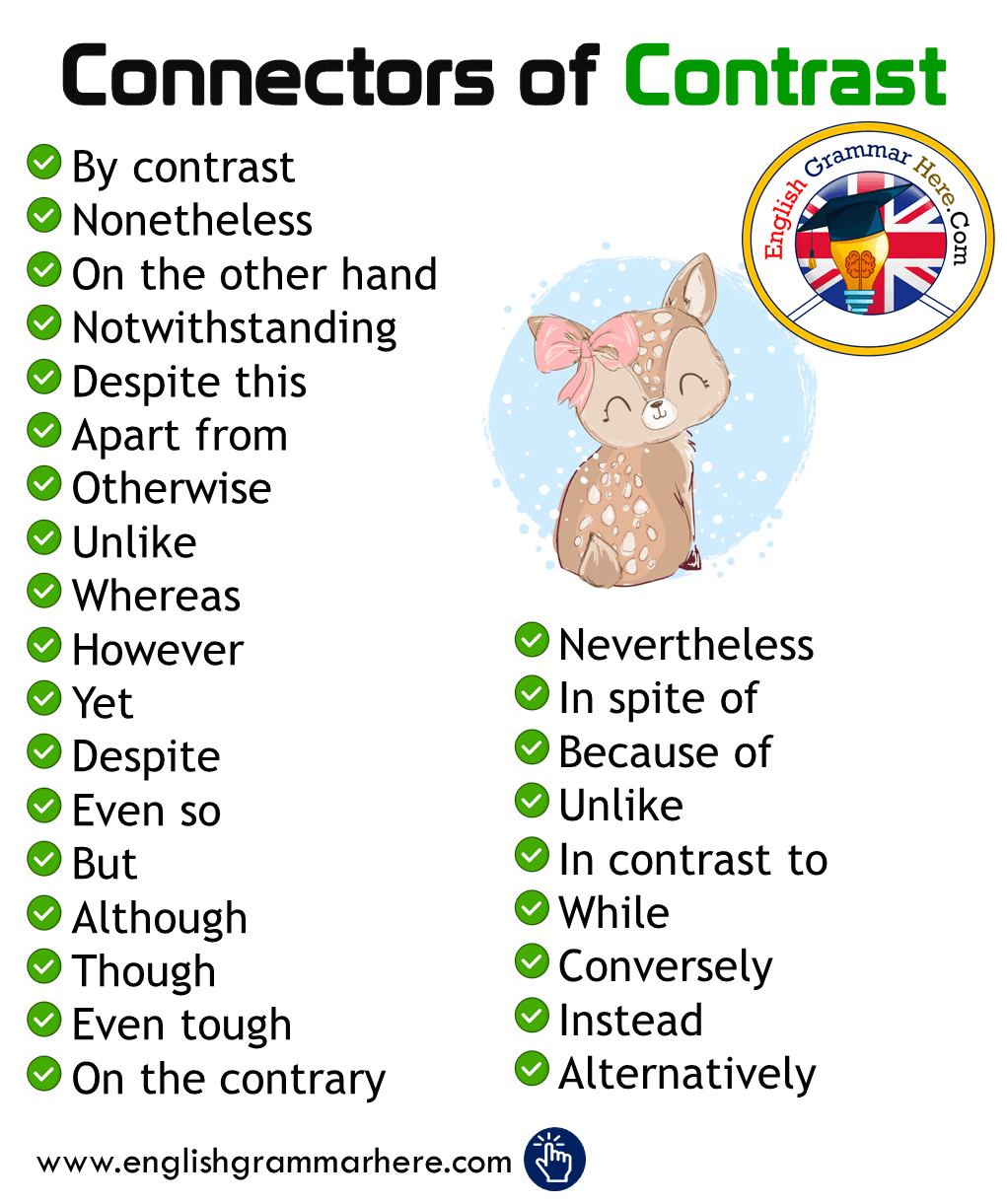English Connectors / Conjunctions of Contrast List and Example Sentences