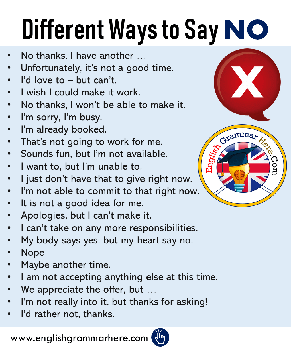 Different Ways to Say NO in English, Phrases Examples