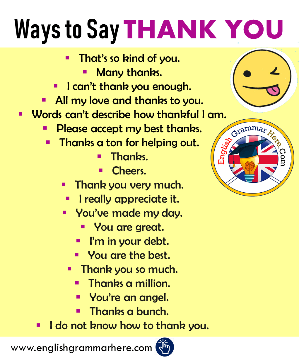Different Ways to Say THANK YOU in English
