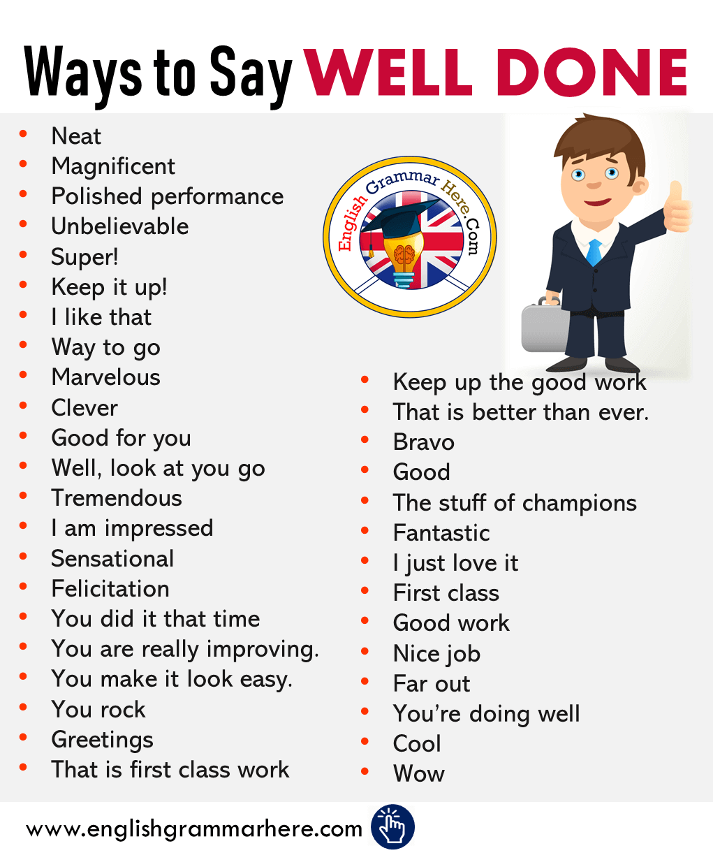 English Different Ways to Say WELL DONE
