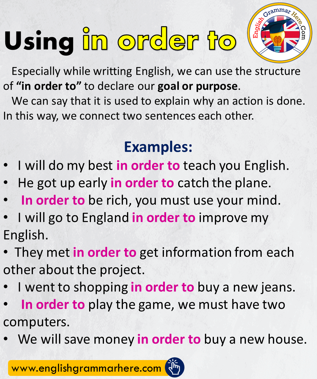 English Using in order to & Example Sentences