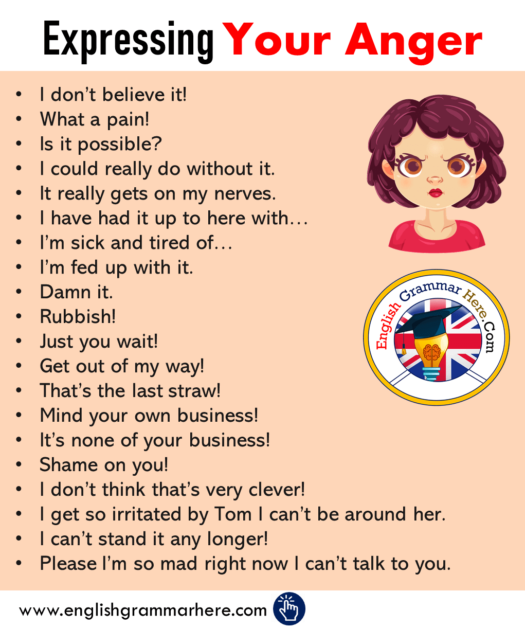 Expressing Your Anger in English, How to Express You Anger