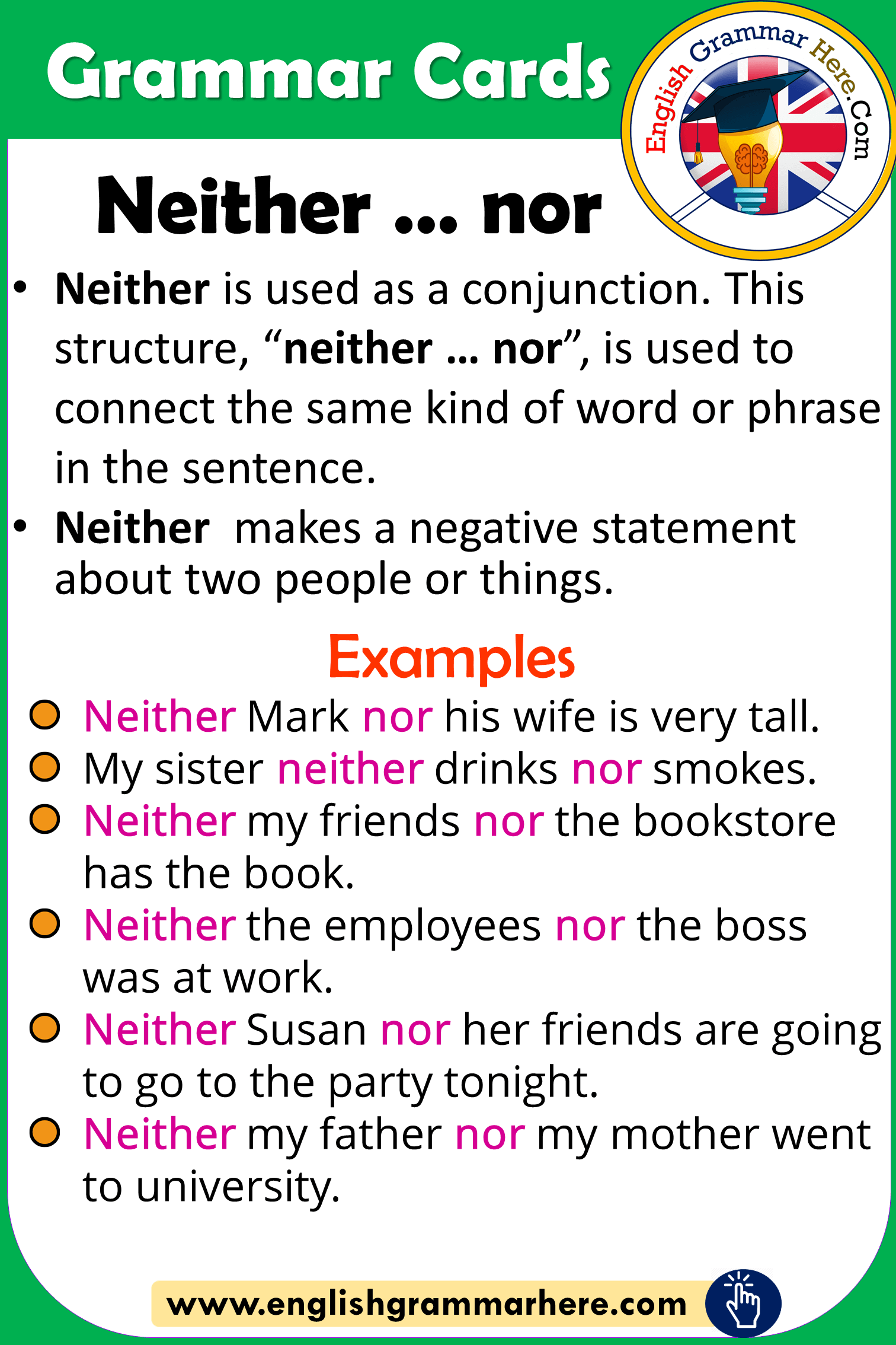 Grammar Cards – Using Neither … nor in English