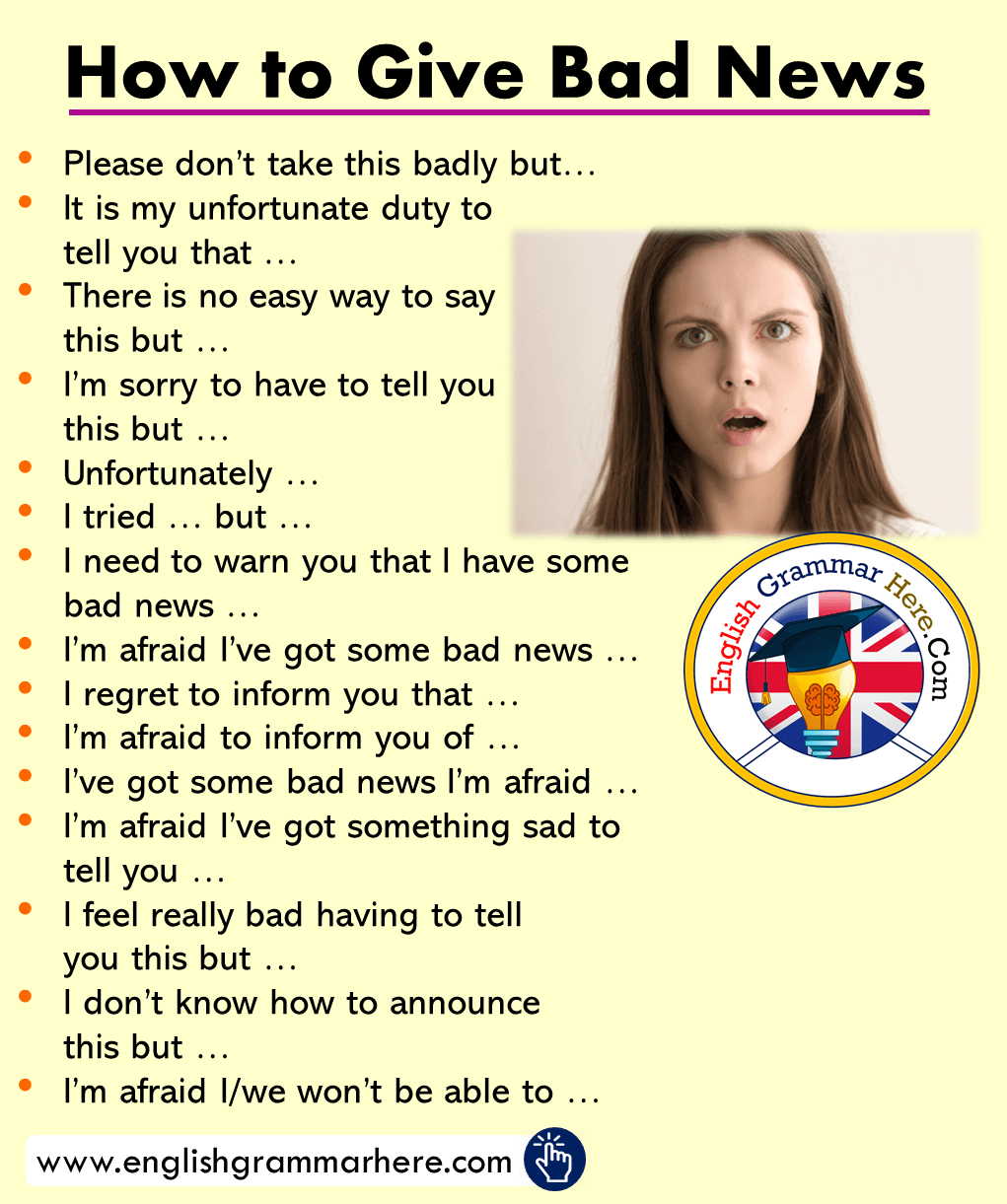 Phrases for giving bad news in english