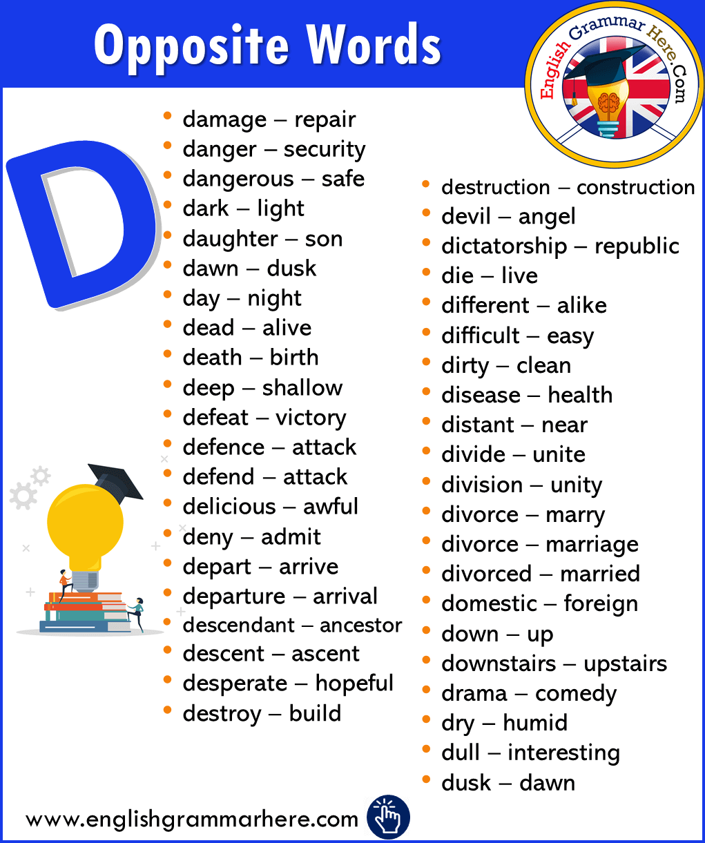 Alphabetical Opposite Word List – D