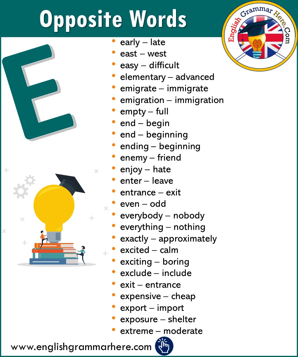 English Opposite / Antonym Words List with E