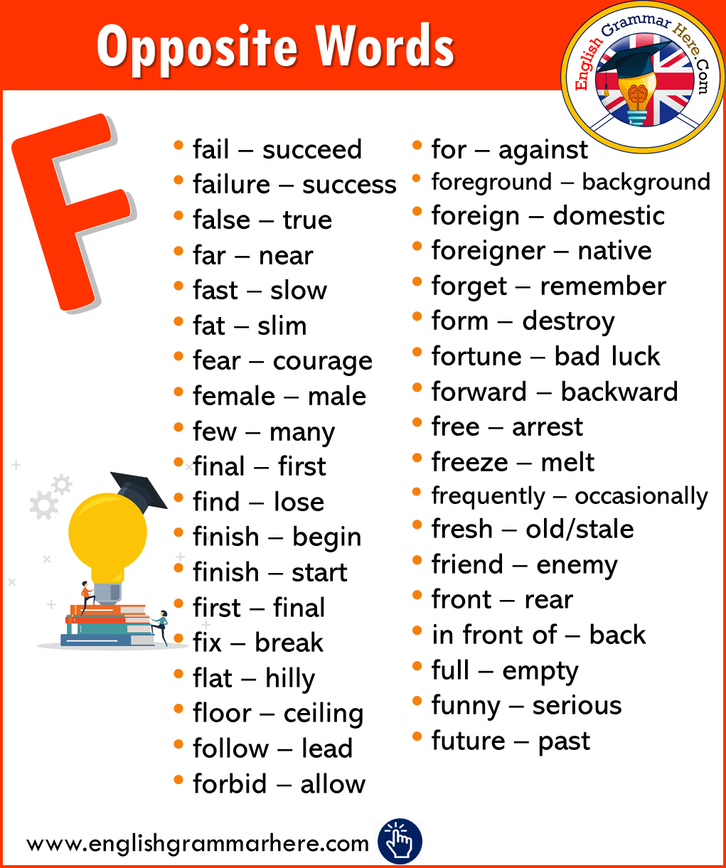 Alphabetical Opposite Word List – F