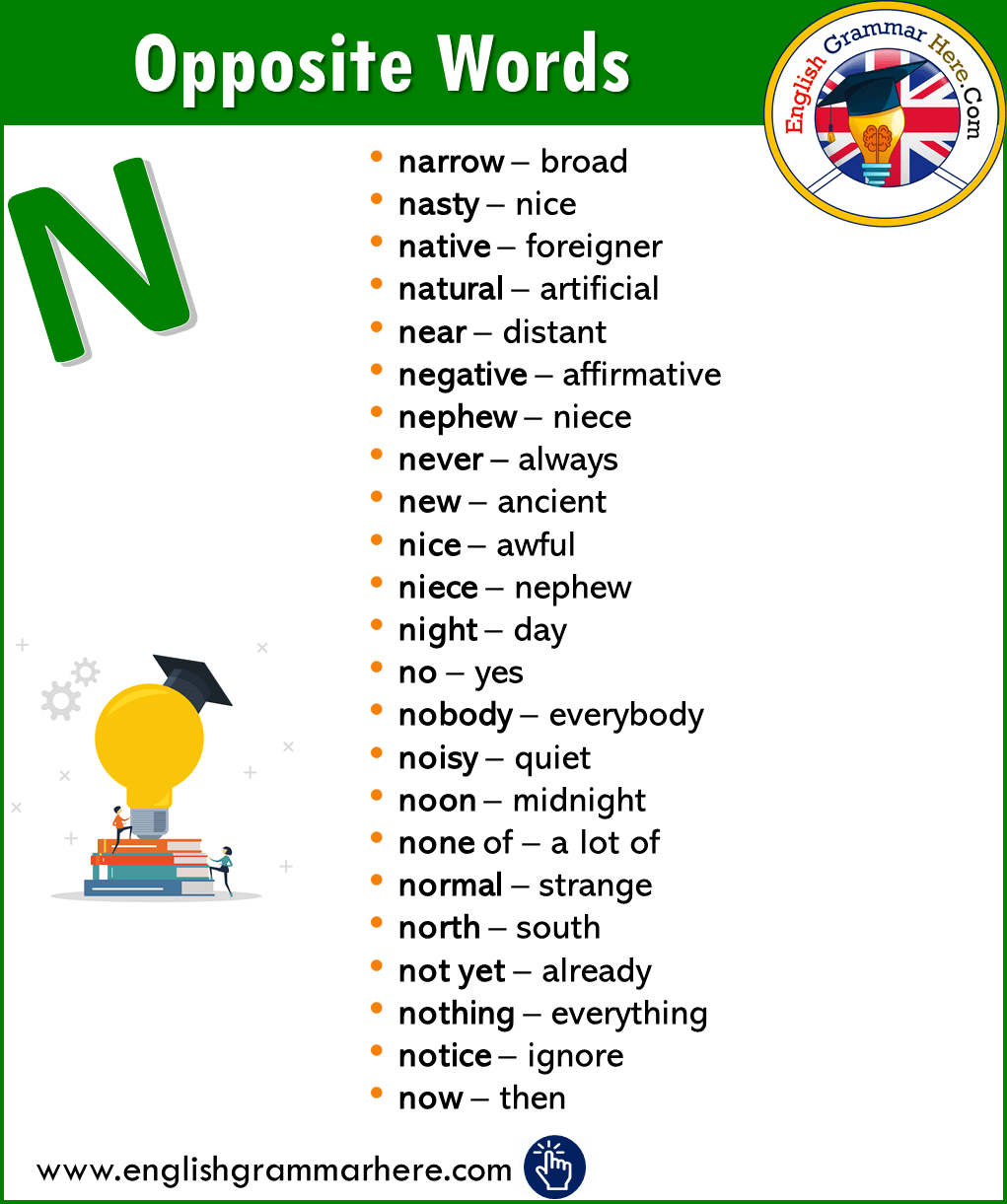English Opposite / Antonym Word List – N