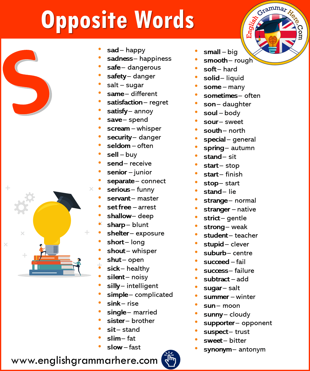 English Opposite / Antonym Words List with S