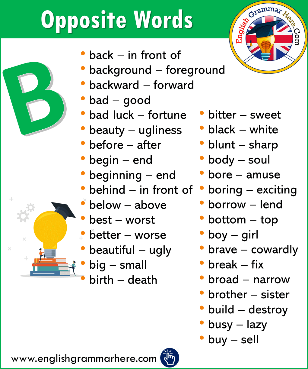 Alphabetical Opposite Word List – B
