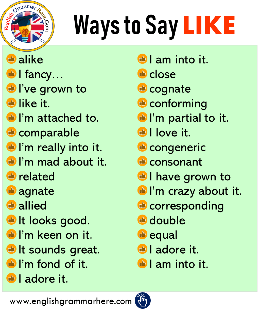 Other Ways to Say LIKE in English