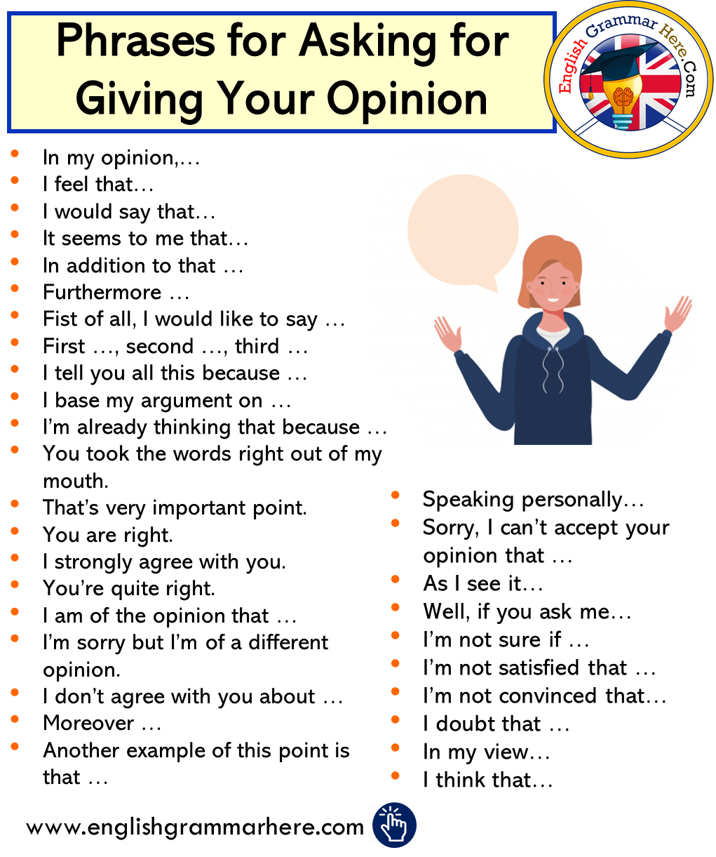 English Phrases for Asking for Giving Your Opinion
