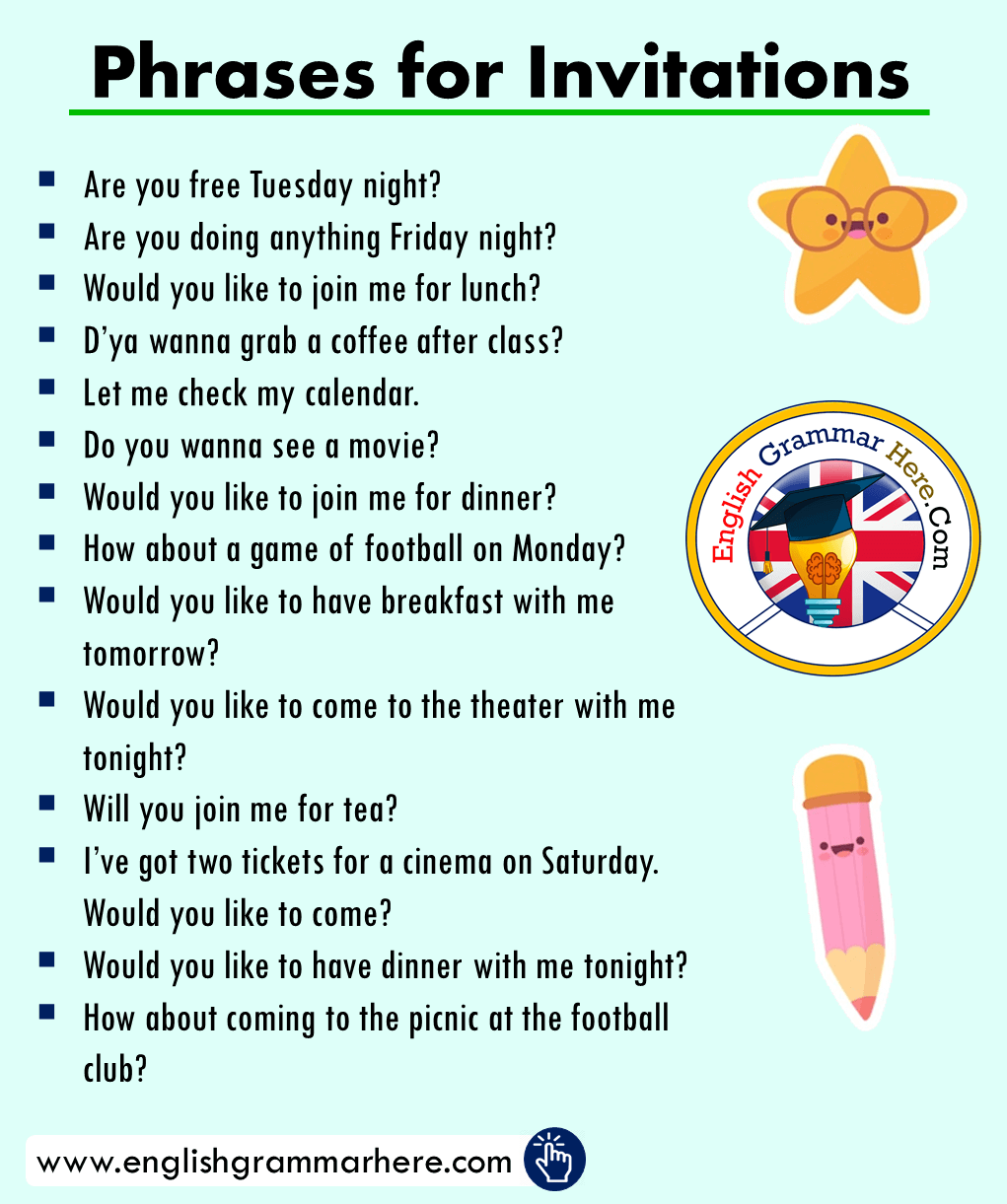Phrases for Invitations Examples in English