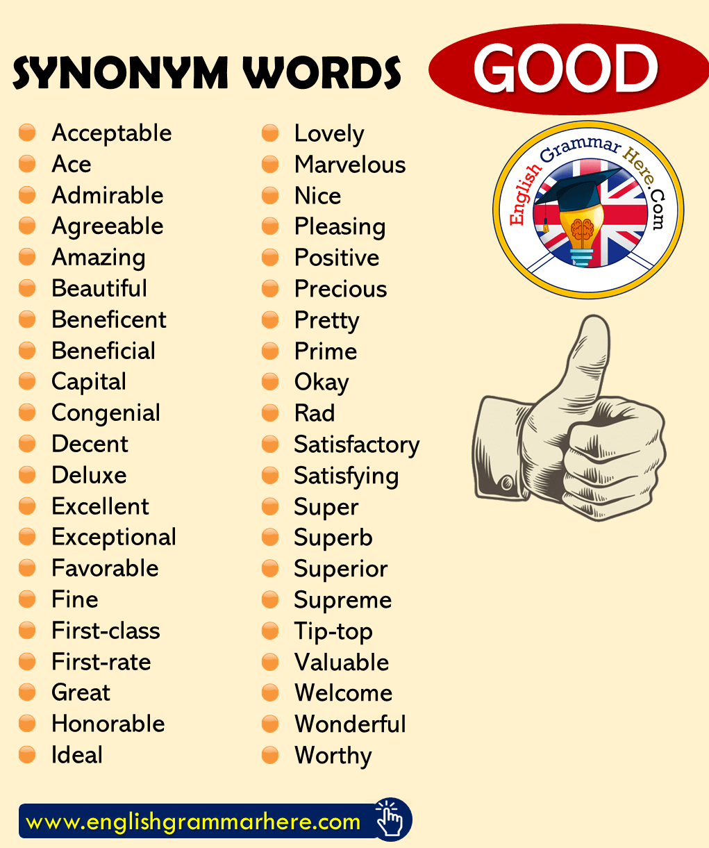 English Synonym Words with GOOD, English Vocabulary