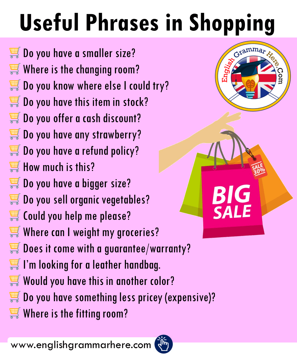 English Useful Phrases in Shopping, Example Questions in Shopping