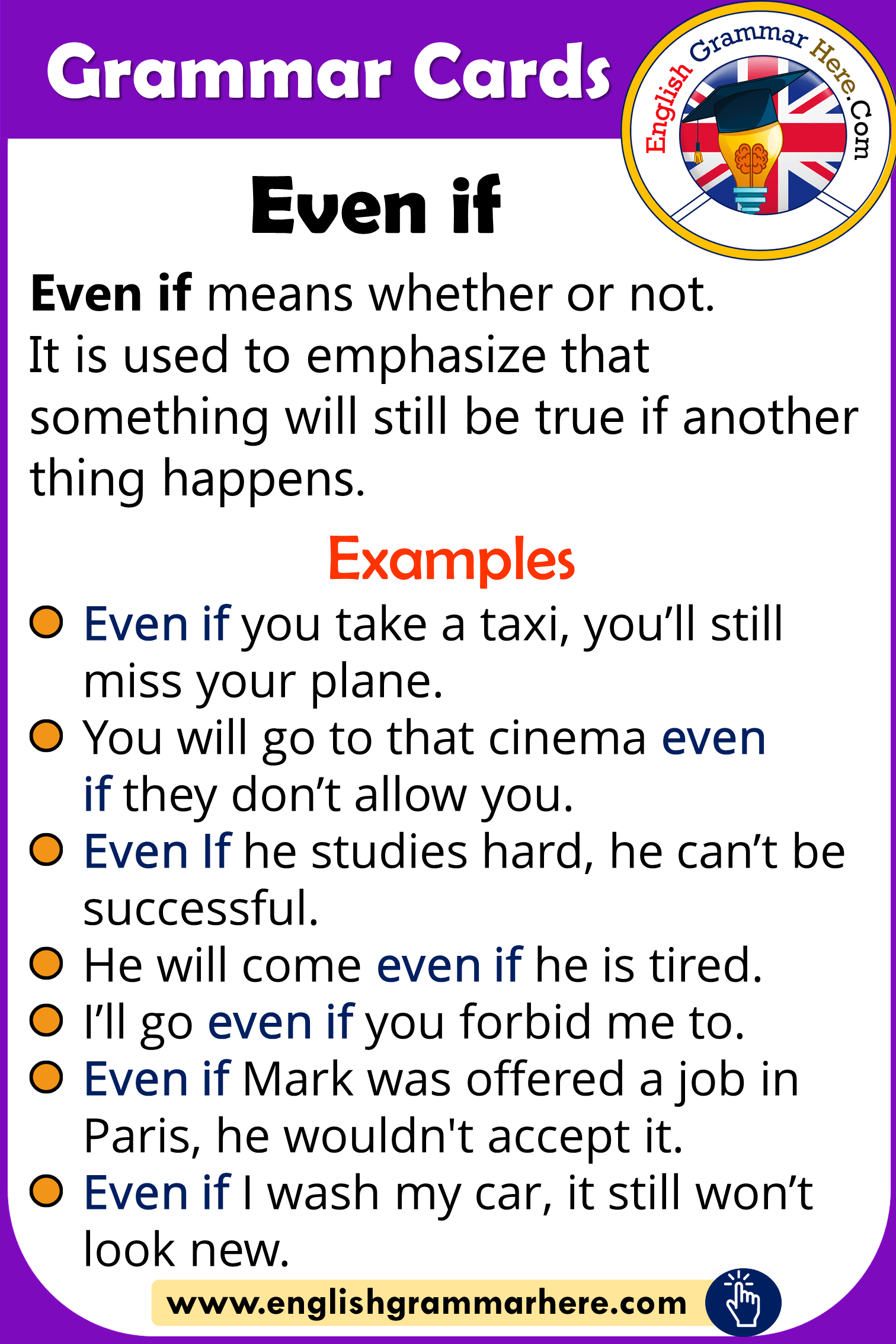 Grammar Cards - Using Even If in English