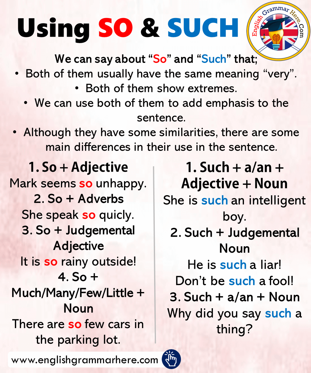 How to use SO and SUCH, Examples Sentences