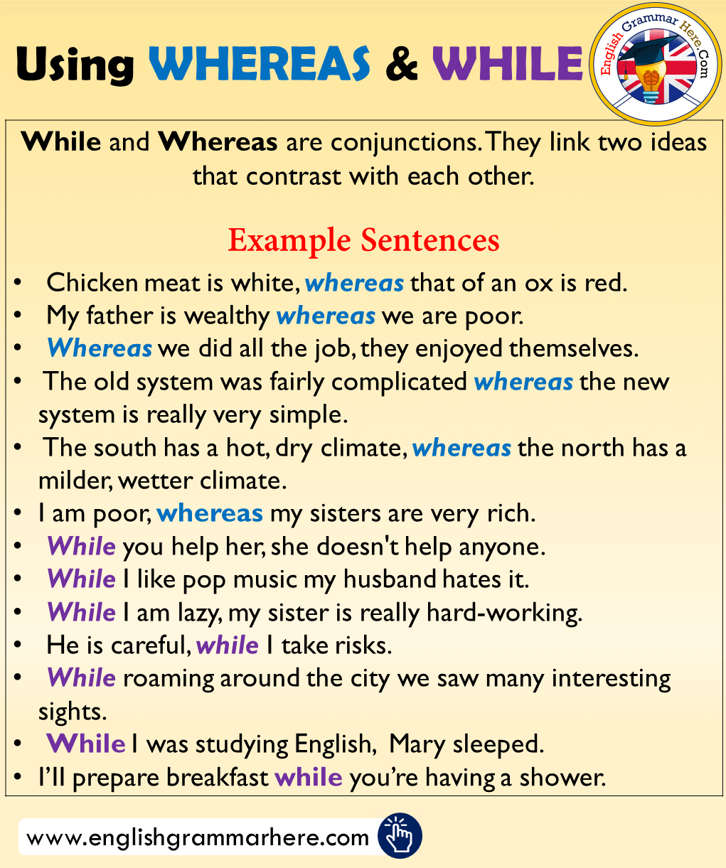 Using WHEREAS & WHILE, Example Sentences
