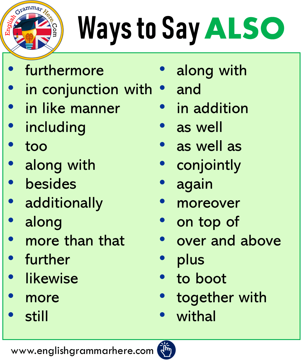 Ways to Say ALSO, Synonym Words With ALSO