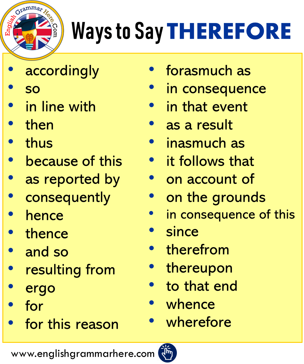 Ways to Say THEREFORE in English