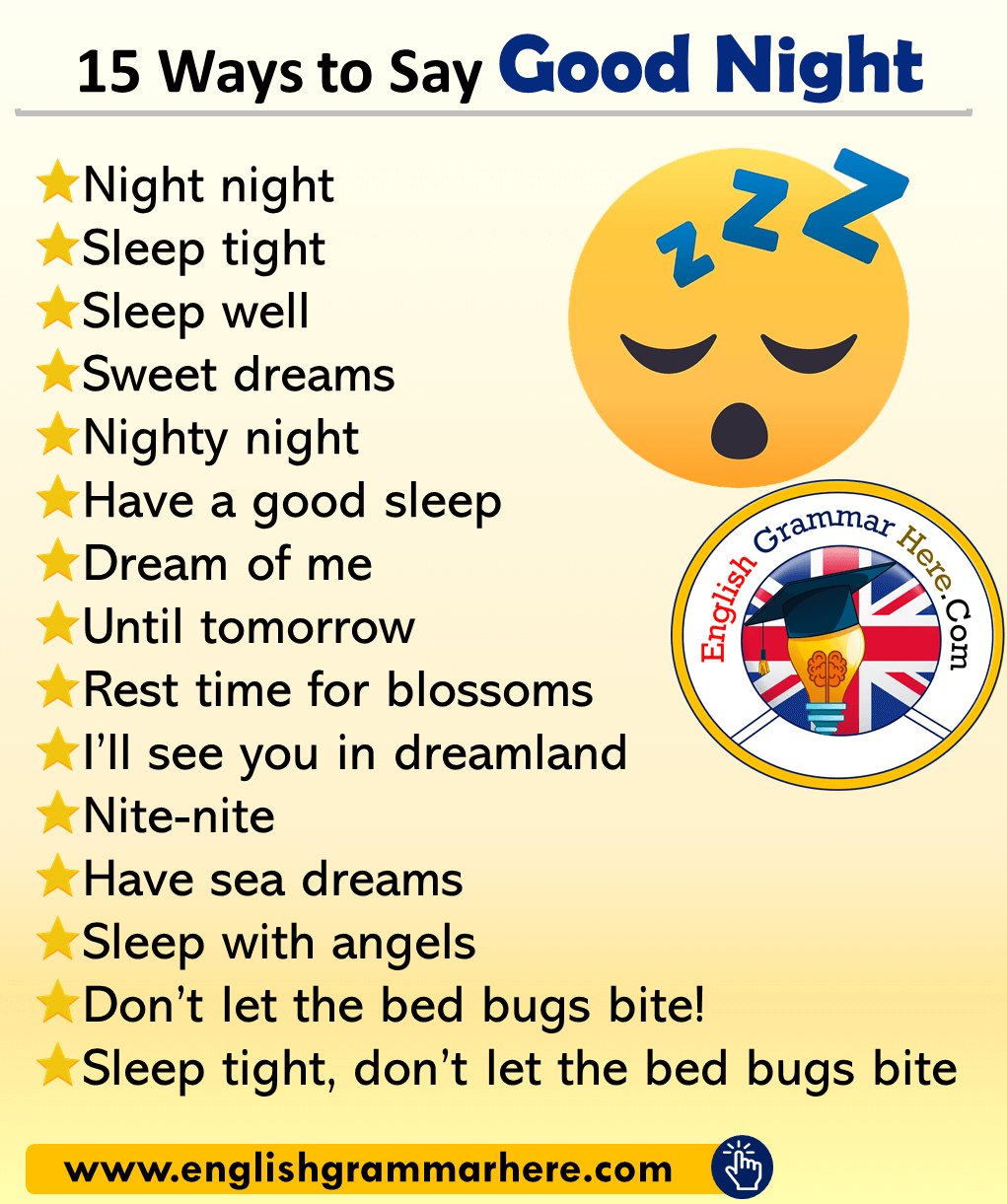 15 Ways to Say Good Night in English