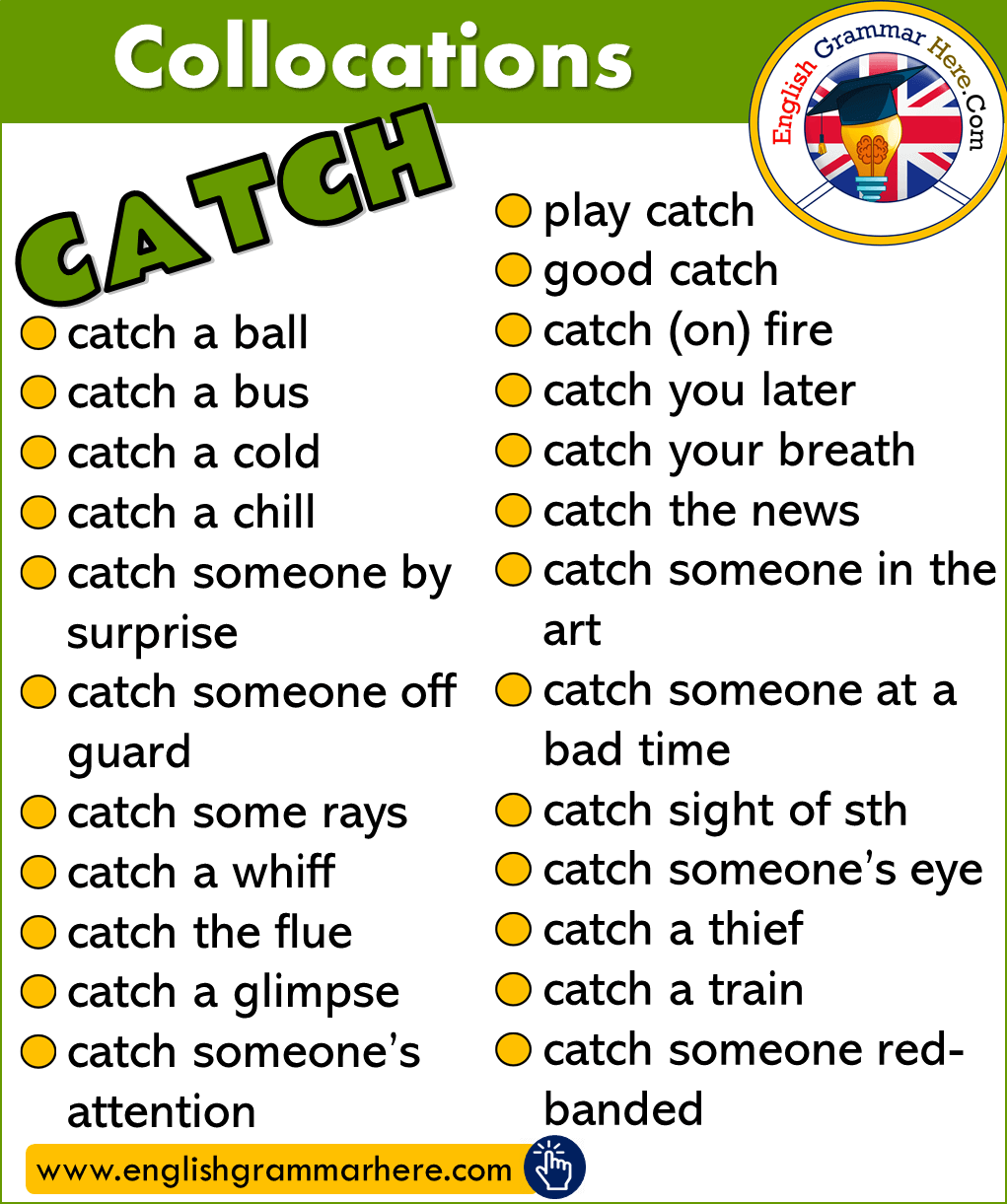 English Collocations List, Phrases with Catch, Collocations with CATCH in English