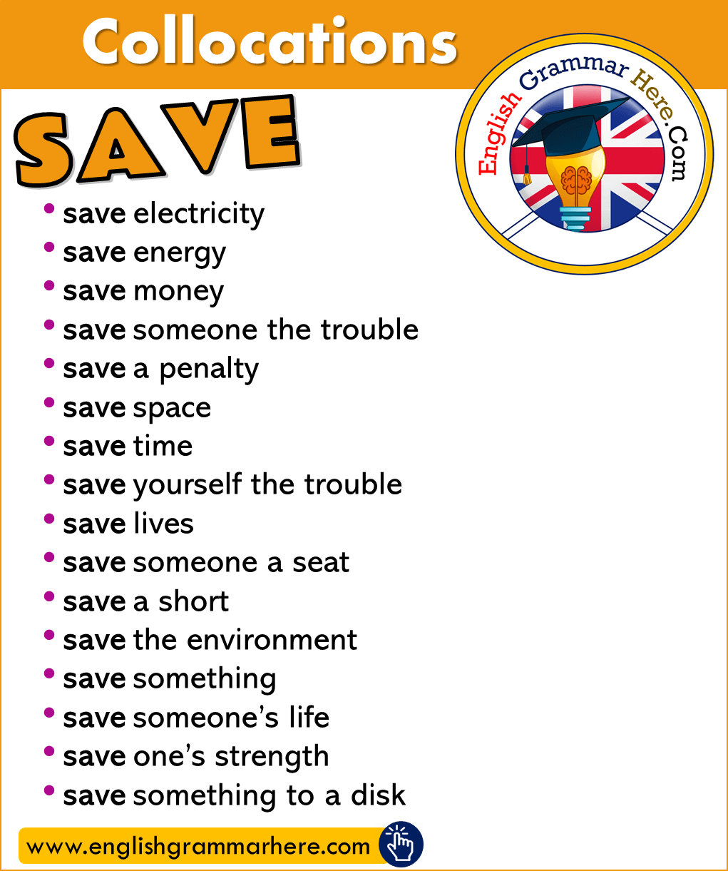 Phrases with SAVE in English, Collocations with SAVE in English