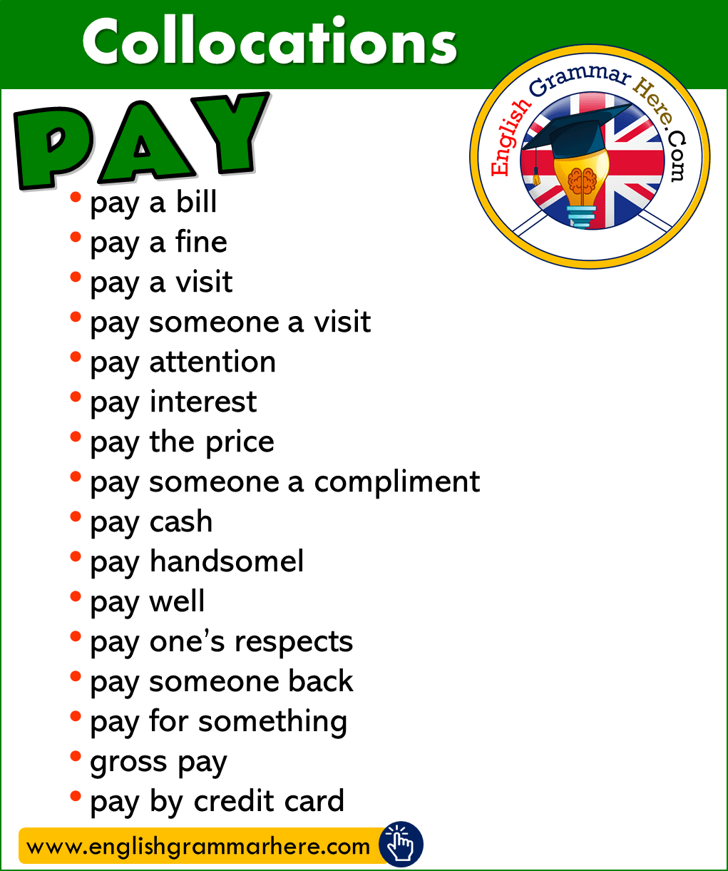 English Phrases with PAY, Collocations with PAY in English