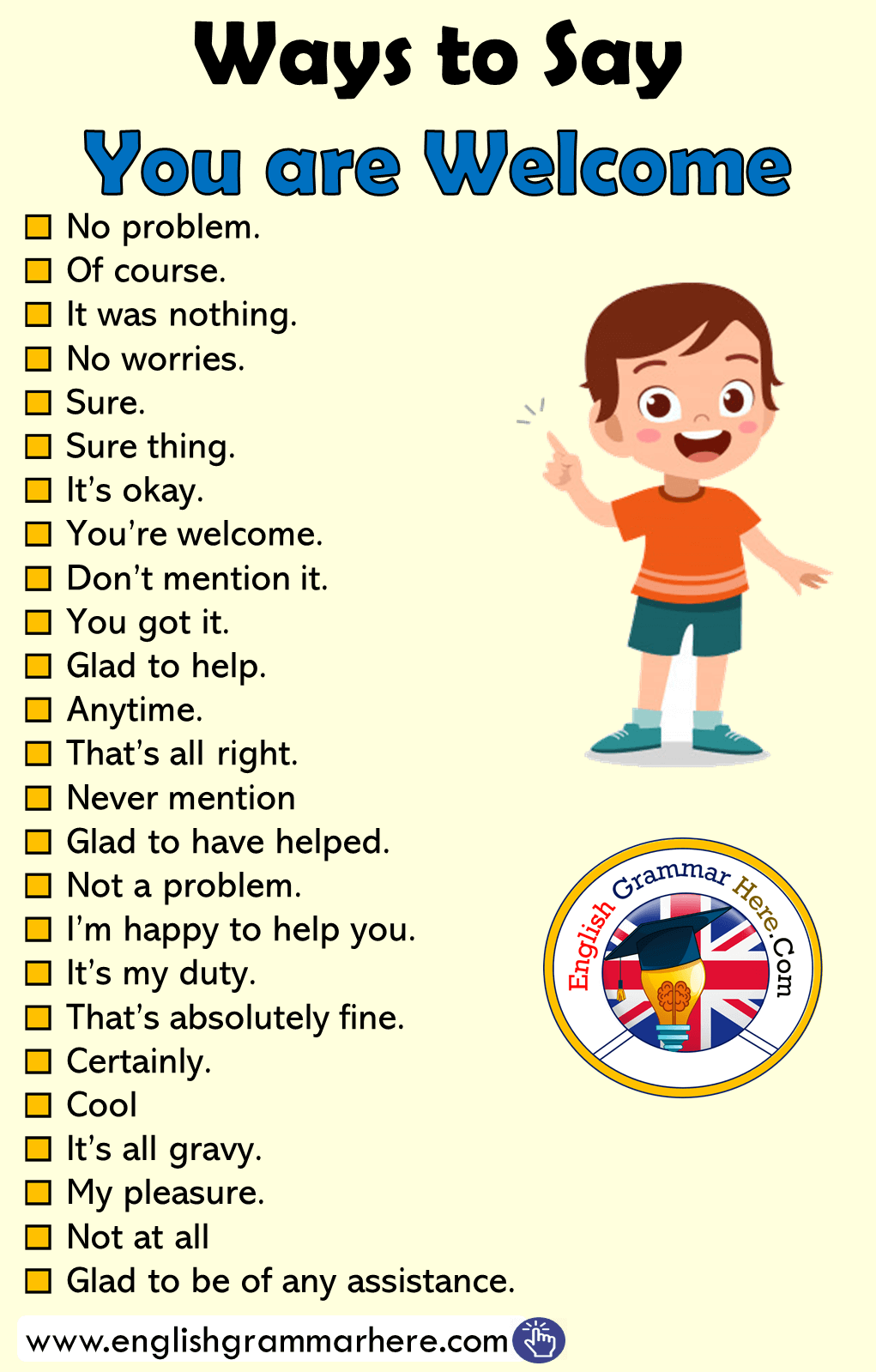 Different Ways to Say You are Welcome in English