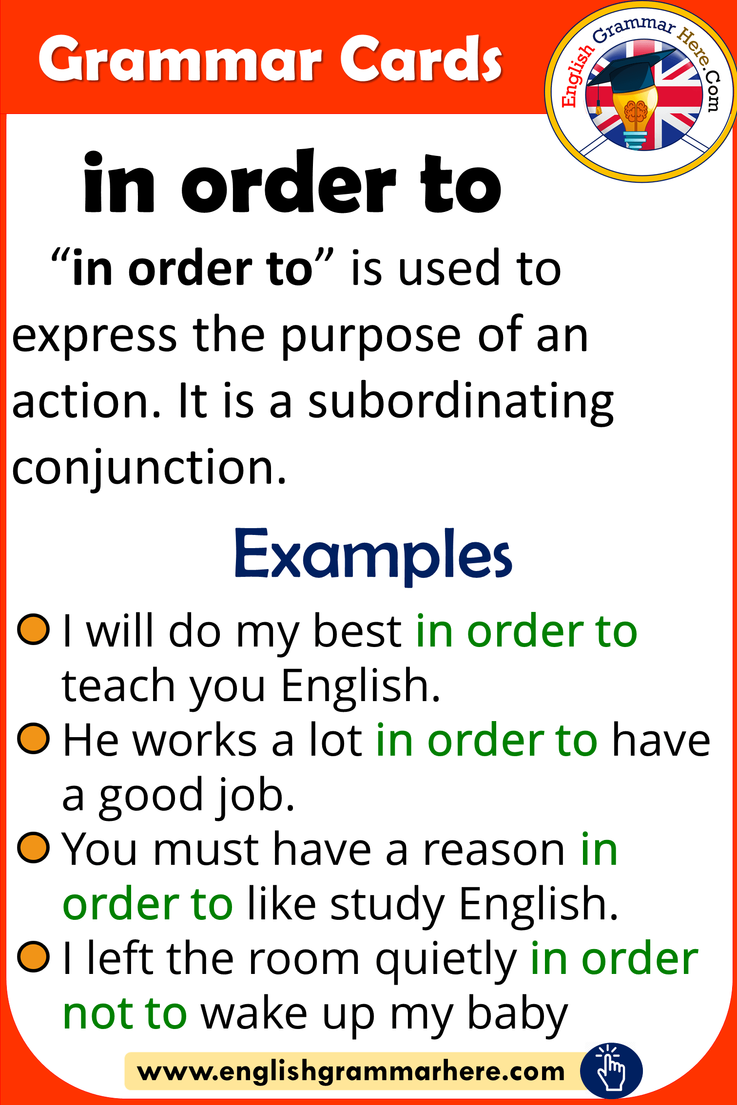 Grammar Cards – Using In Order To in English