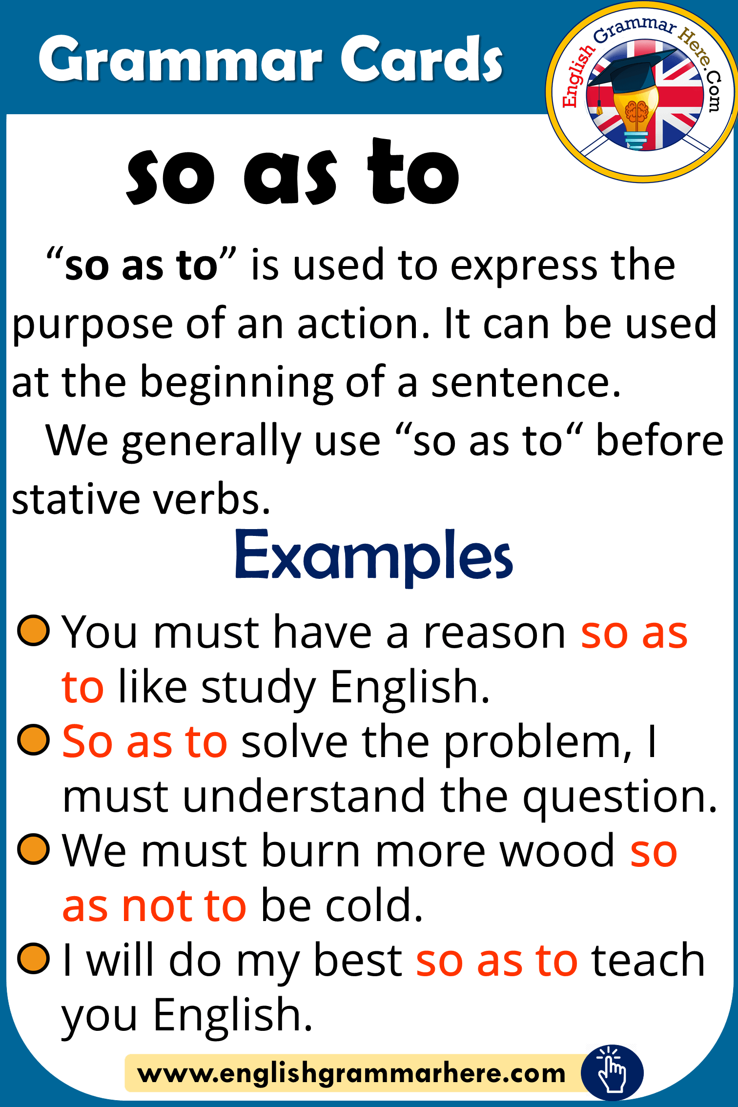 Grammar Cards – Using SO AS TO in English