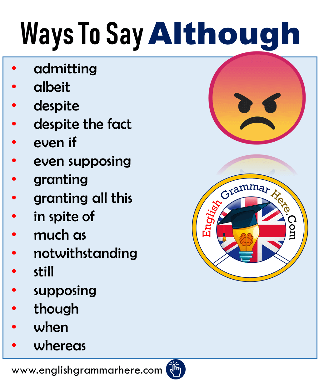 Ways To Say Although - Synonym Words Although