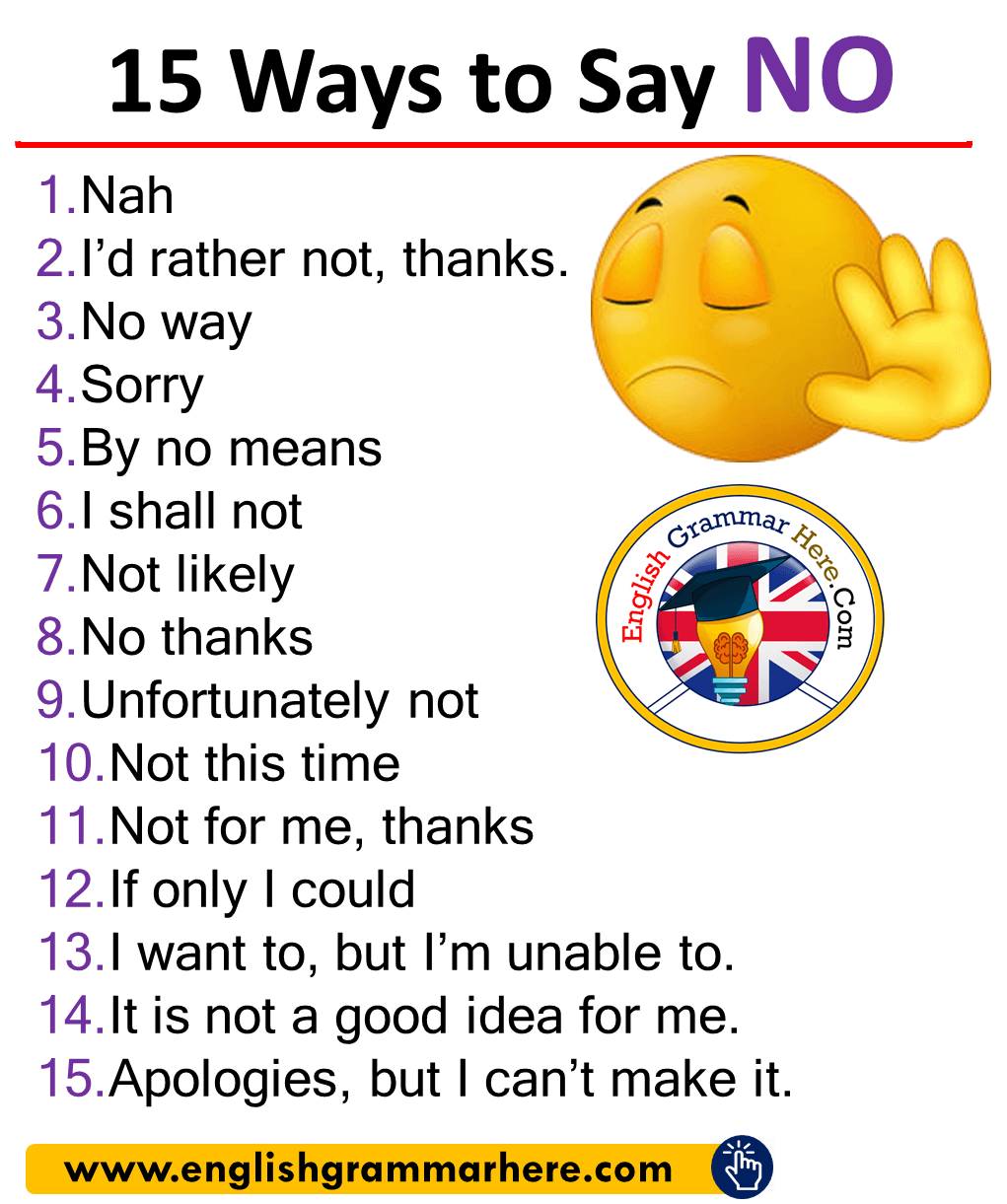 Different Ways to Say NO in English