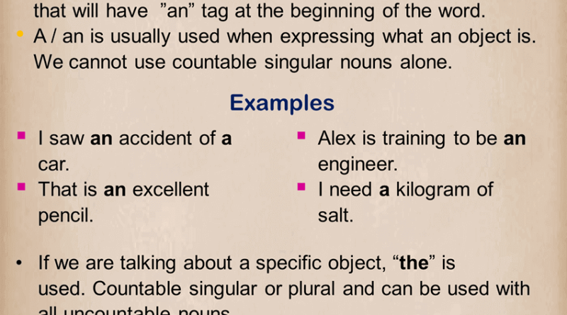 Articles, Detailed Expression and Example Sentences