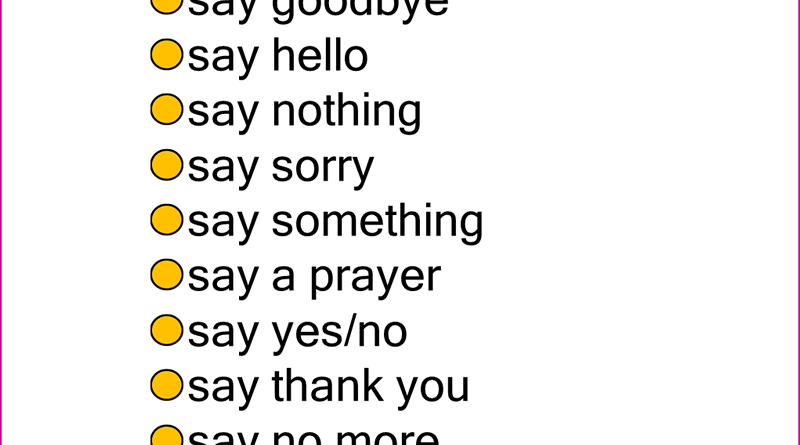 English Phrases, Collocations with SAY in English