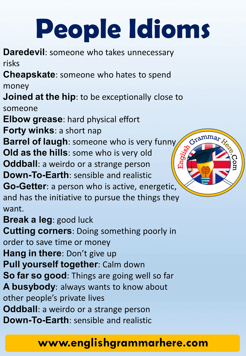 Common People Idioms and Meanings in English