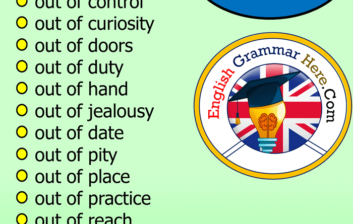 English Prepositional Phrases OUT List, Example Phrases