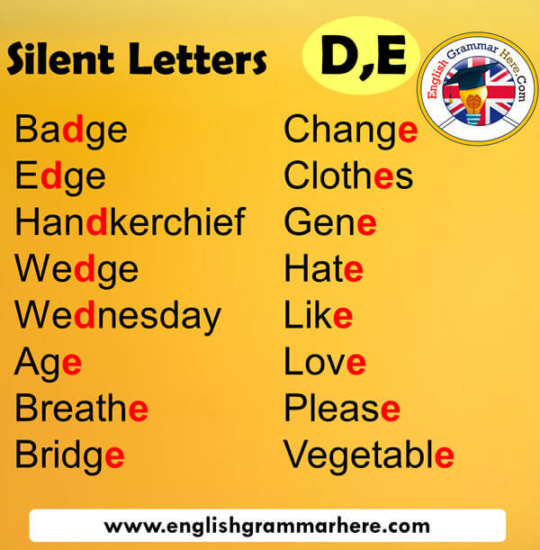 Silent Letters in English D,E