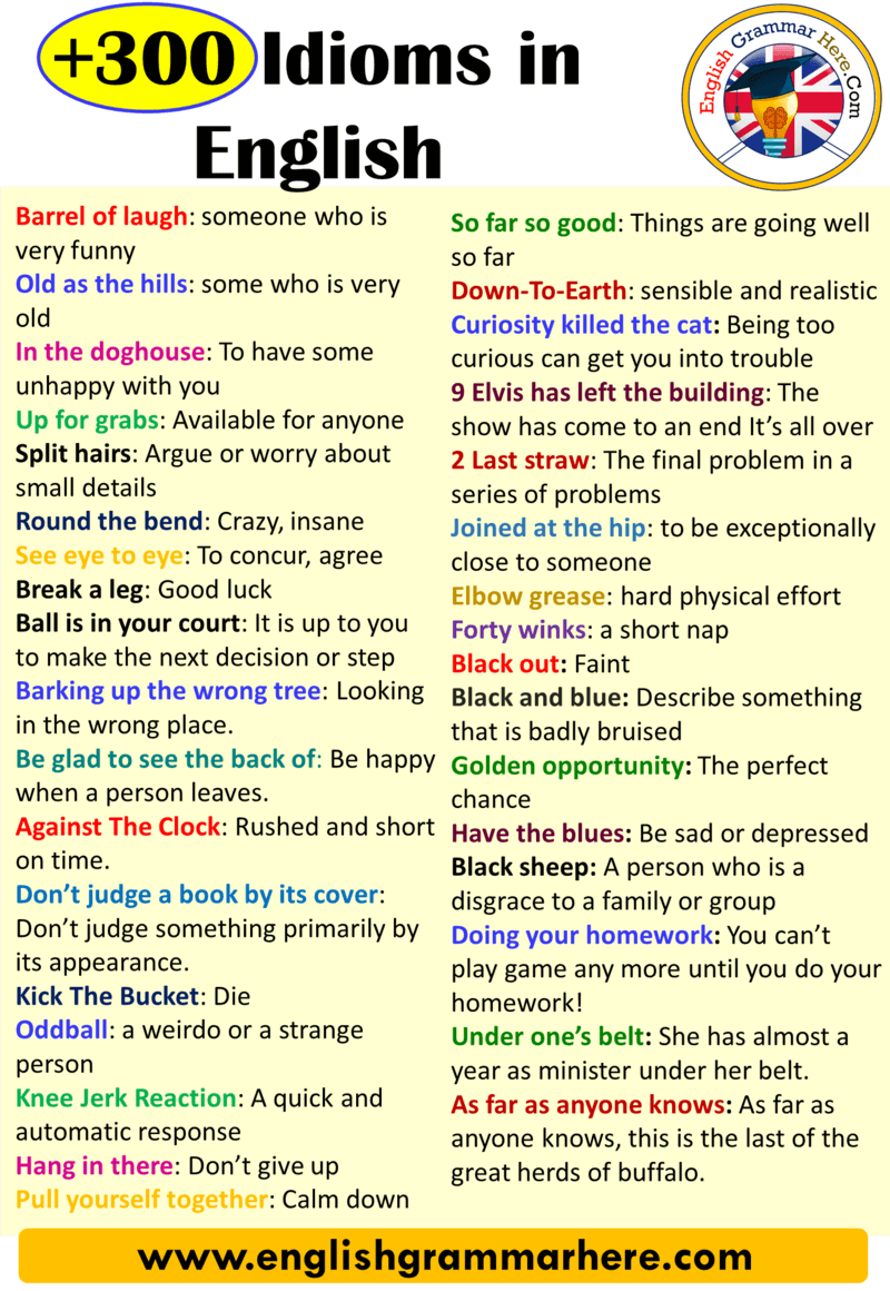 +300 English Idioms, Definitions and Examples